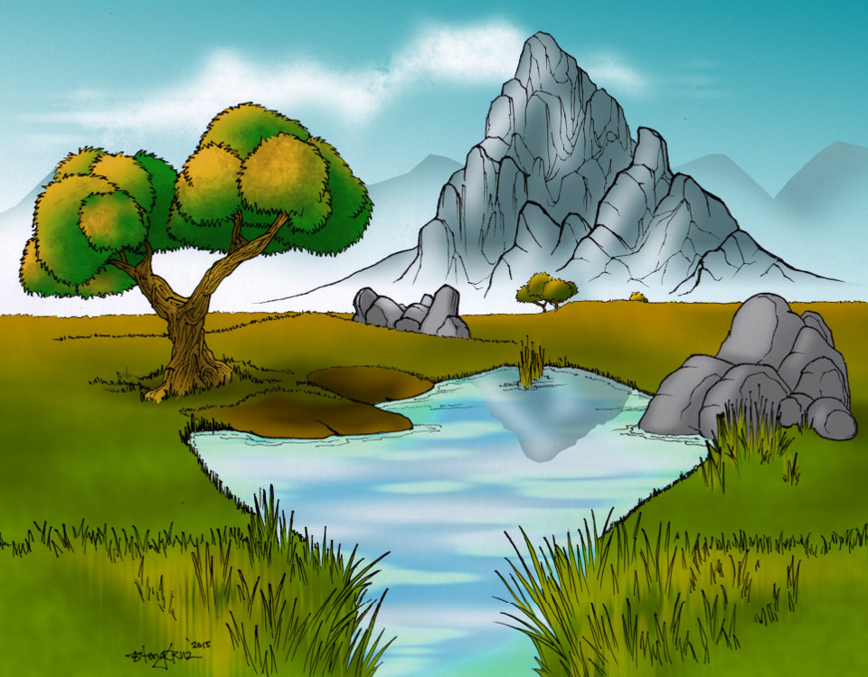 A pond and a tree on a valley